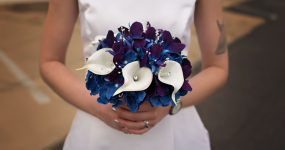 Galaxy orchid and calla lily bouquet