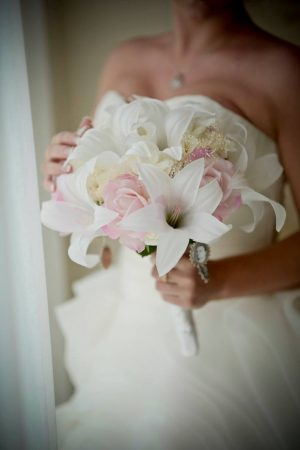 blush and white casablanca lily bouquet