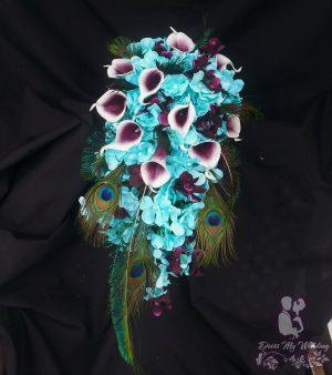 aqua and plum bouquet