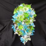 Aqua and green silk bouquet