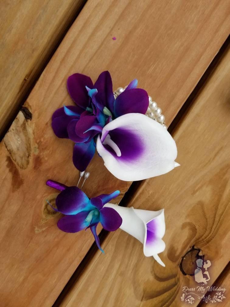 Dress My Wedding Galaxy Orchid And Calla Lily Wrist
