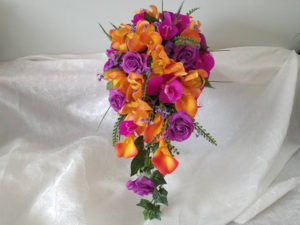 real touch orange and purple bouquet