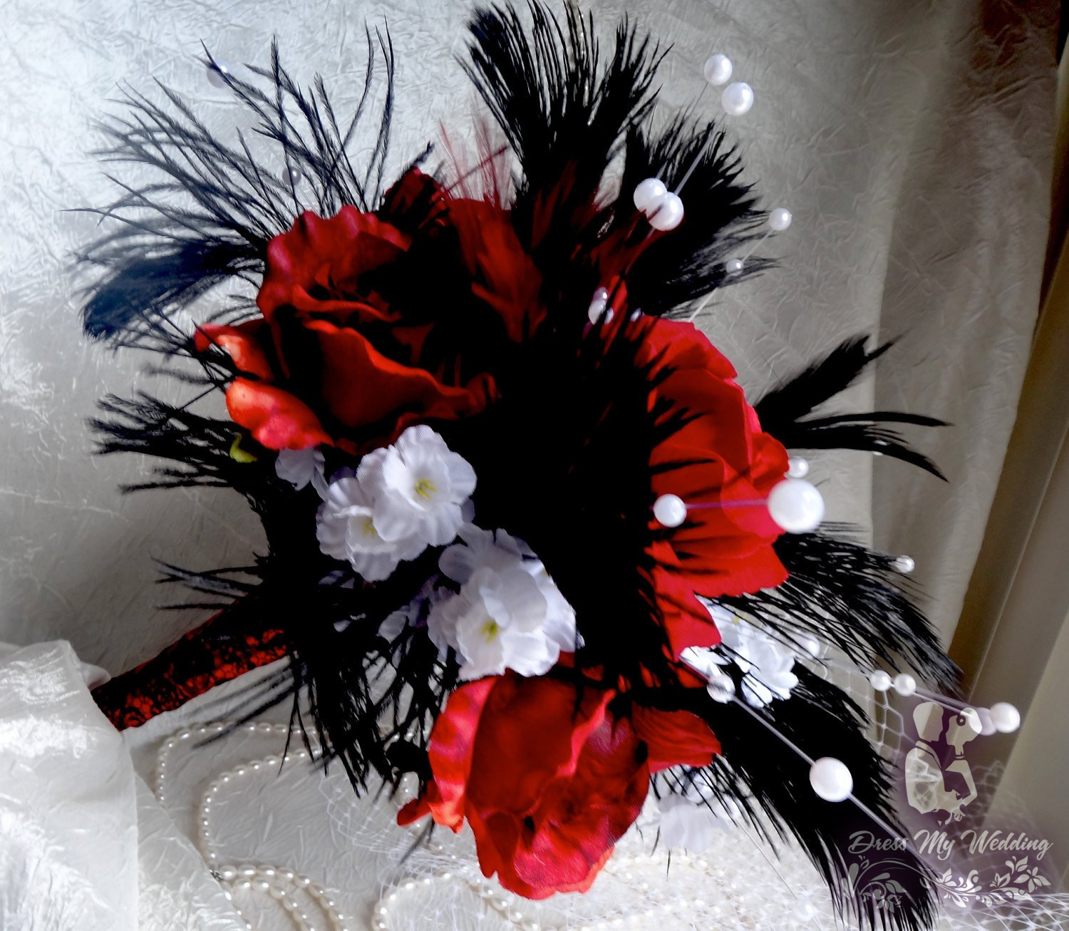 Dress My Wedding Red Rose Black Bridal Bouquet Black Ostrich Fathers White Flower And Pearl Accent Sale