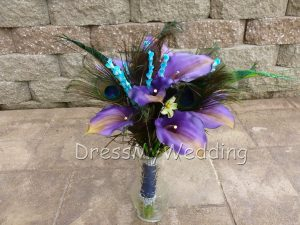 calla lily and peacock bouquet