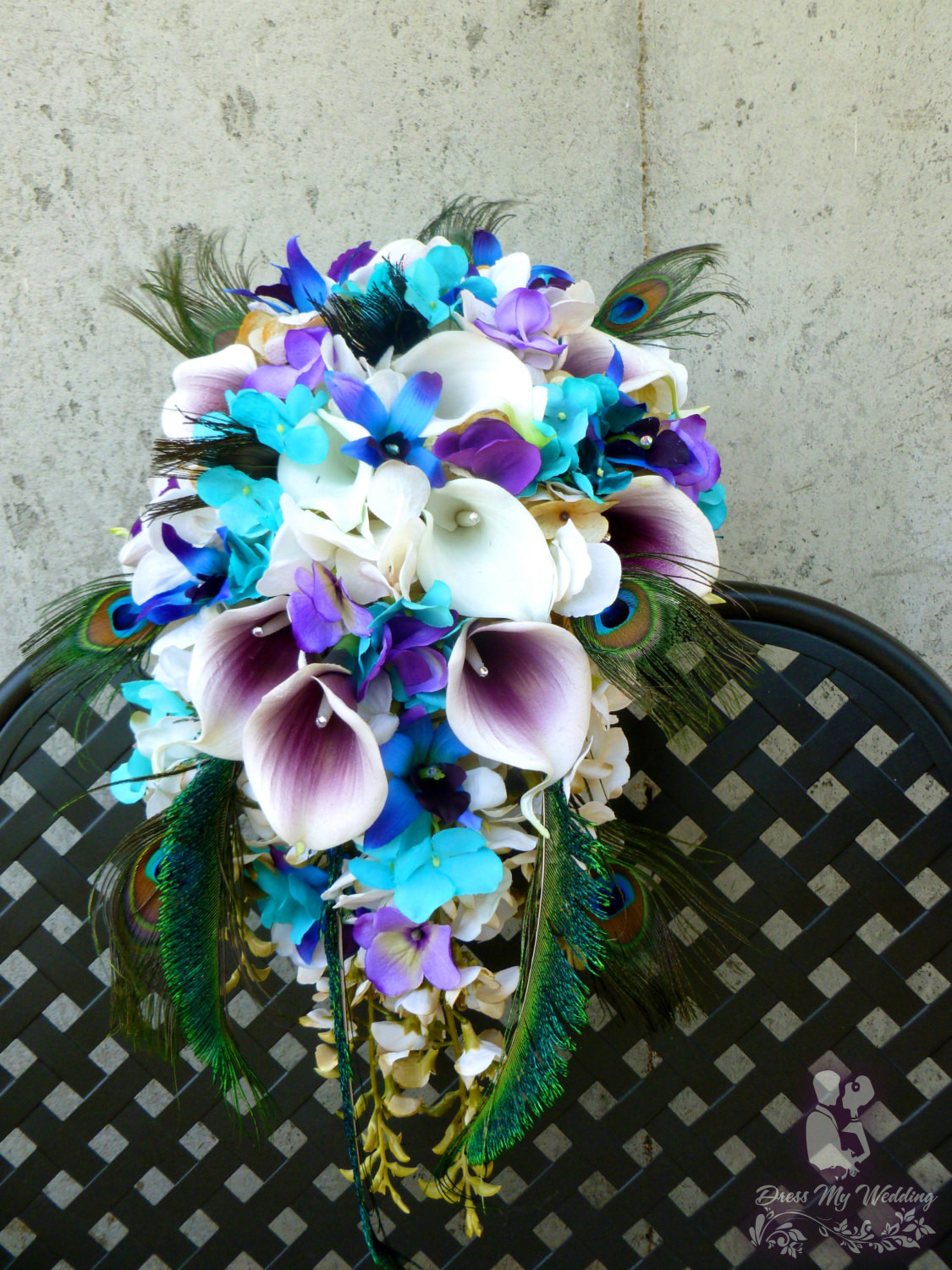 Dress My Wedding Cascading Bridal Bouquet With Peacock Feathers