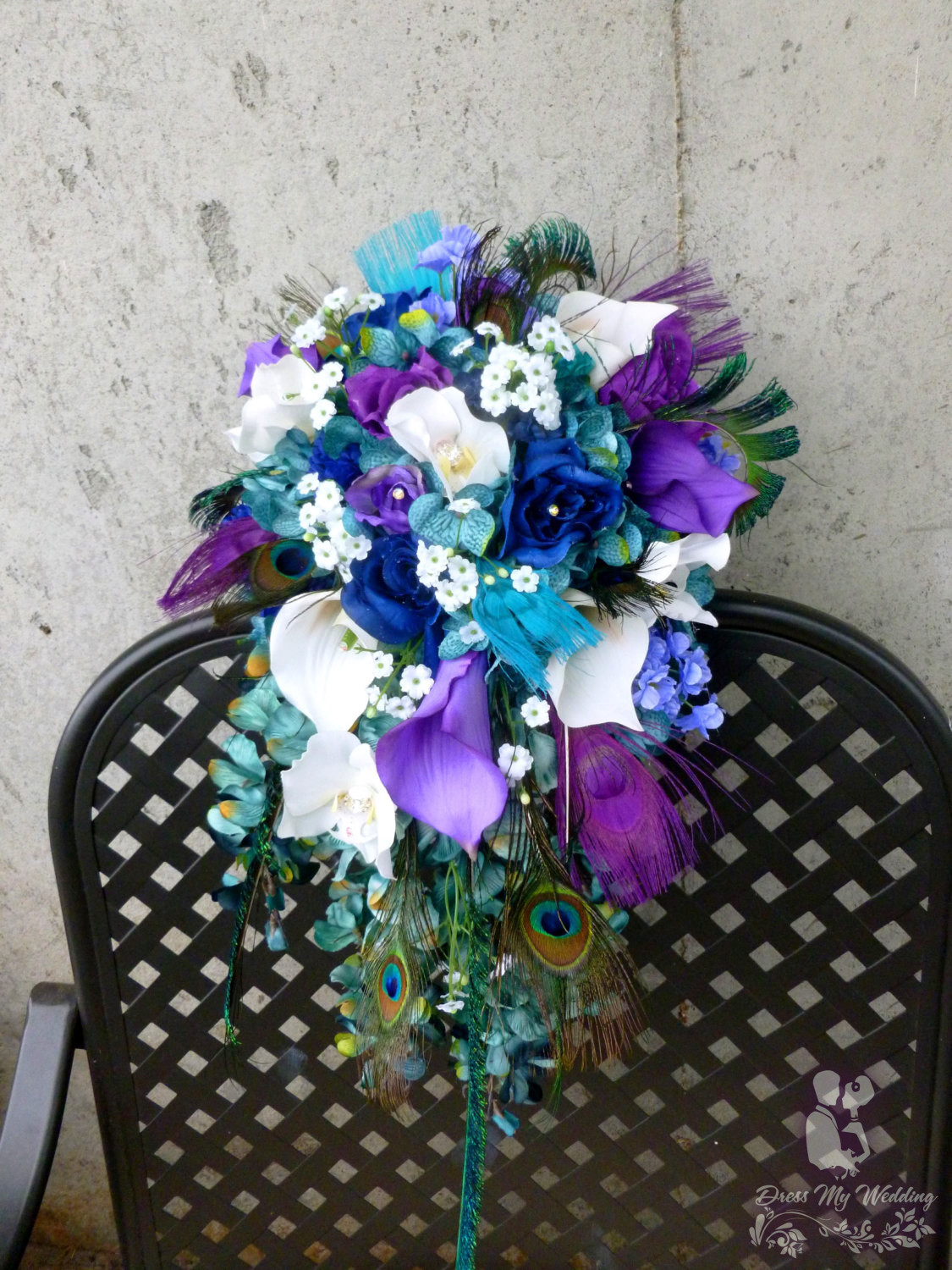 Dress My Wedding Teal And Purple Cascading Bouquet