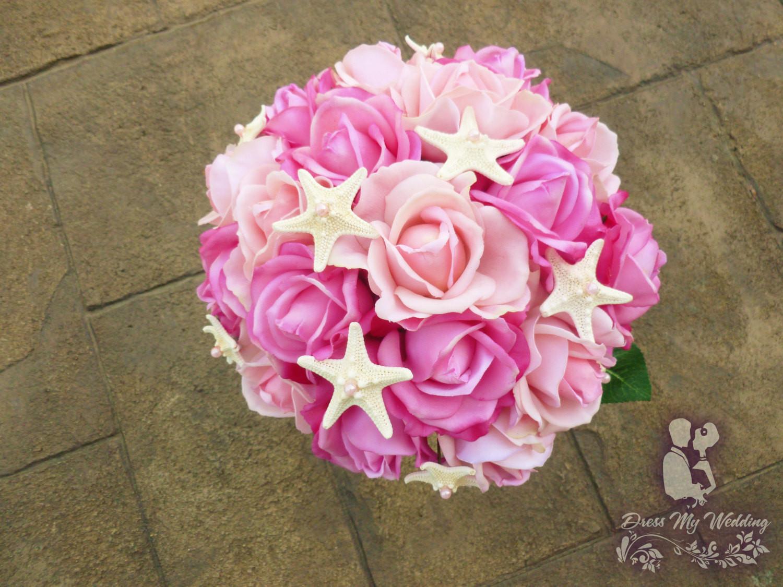 Dress My Wedding Real Touch Hot Pink Light Pink Rose Bouquet True Touch Flower Bouquet Artificial Flower Bouquet
