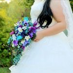 Teal and purple bouquet