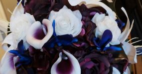 Plum and ivory cascading bouquet
