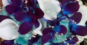 Purple turquoise galaxy bouquet