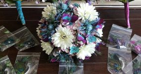 Gerbera daisy, thistle, and galaxy orchid bouquet