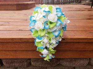 cascading artificial bridal bouquet