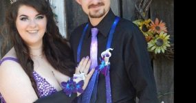 Galaxy orchid and calla lily wrist corsage and boutonniere set