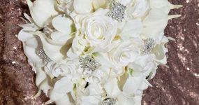Ivory, cream cascading bridal bouquet, real touch calla lily, rose, orchid cascade bride bouquet with artificial flowers