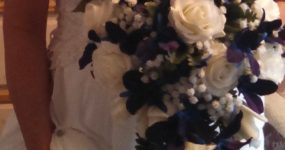 Rose, baby's breath and galaxy orchid bouquet