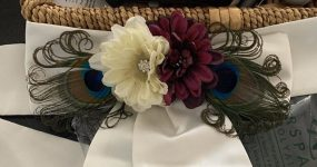 Daisy sash pin, dark purple daisy cream daisy with peacock feathers, rhinestone accent piece, dress sash